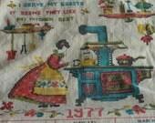 Vintage Tea Towel Calendar Cross Stich Look 1977