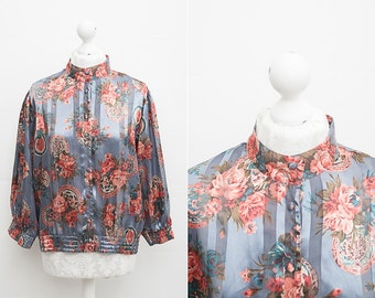 Vintage High Collored Blouse with Floral Print / Grey, Pink, Blue Colors / Size L / High Collar Shirt / Secretary Turtleneck / Cuffed Sleeve