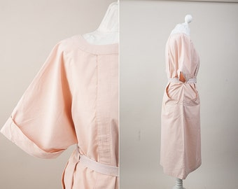 Vintage Pale Pink Dress / 70s Vintage Midi Champagne Pink Dress with pockets / Nude Dress / Size L/XL / Retro Summer Gown