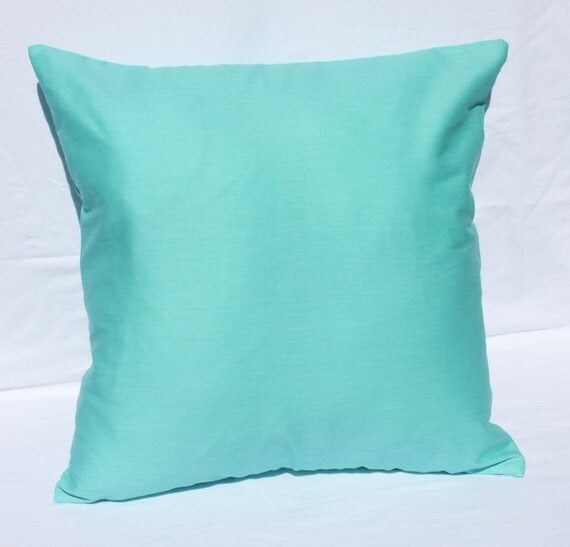 Throw Pillows Aqua Blue : SOLID AQUA PILLOW 18 x 18 Decorative Pillow Covers Aqua Blue
