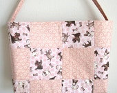 Pink quilted tote bag toy DOGS patchwork purse 10% off pug Chihuahua poodle