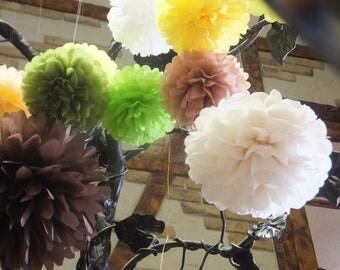 8 Tissue Paper Pom Poms - Choose your Colors - Wedding Decor - Party Decor - Home Decor