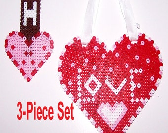 ORNAMENTS - Love Heart & Smaller Heart with Hershey's Chocolate Bar - 3 Piece Set -Red -Pink -White - Brown- Perler Beads