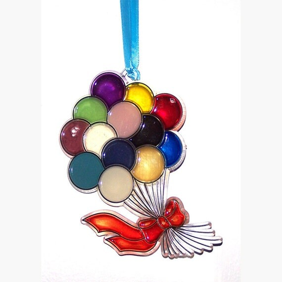 ORNAMENT - Balloons 3 - Birthday Decoration -  Acrylic - Red - Blue - Green - Purple