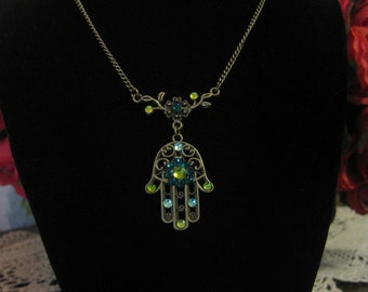 Hamsa,Necklace,Yoga,Jewelry,Judica,Vintage,Green,Protection,Hand of Fatima,Rhinestone,Good Luck,Mother's Day,Birthday,Unique,Gift,For Her