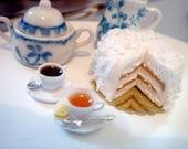Dollhouse miniature cake- Lemon Coconut