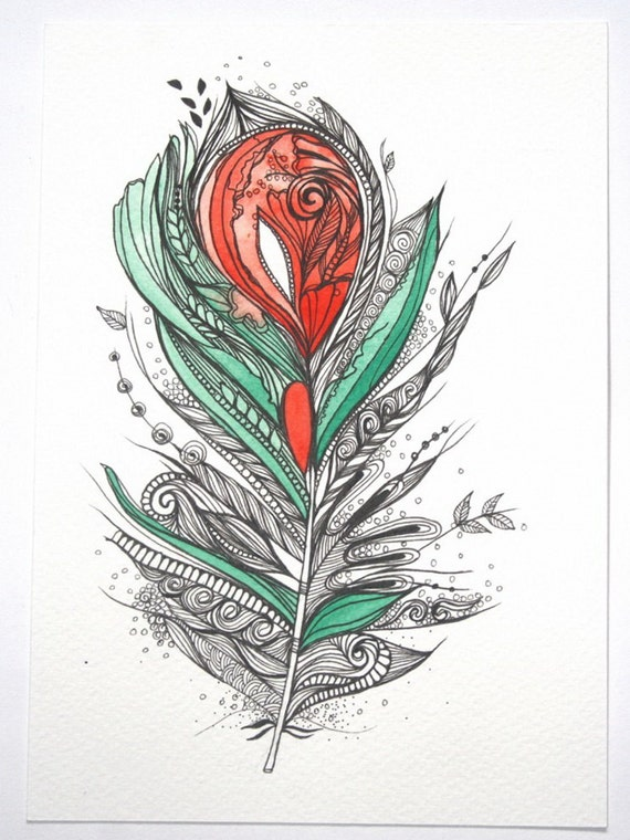 """Reserved for Jen. Flower Lover. 5""""x7"""" Original Artwork. Ink and Water Colors"""