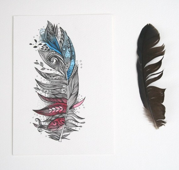 Garden Feather-Original Artwork 5x7 Ink and Water Colours