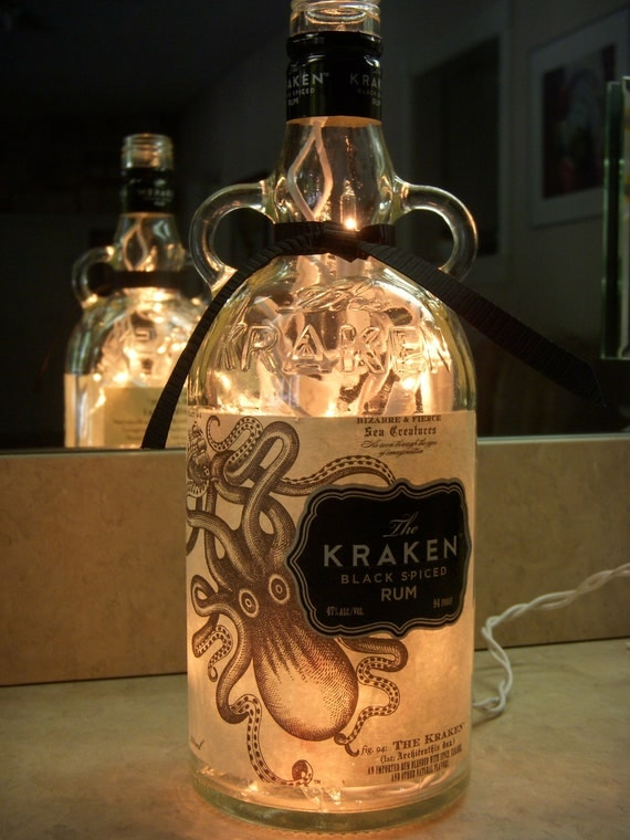 Items Similar To Recycled Kraken Rum Bottle Lamp With Sea