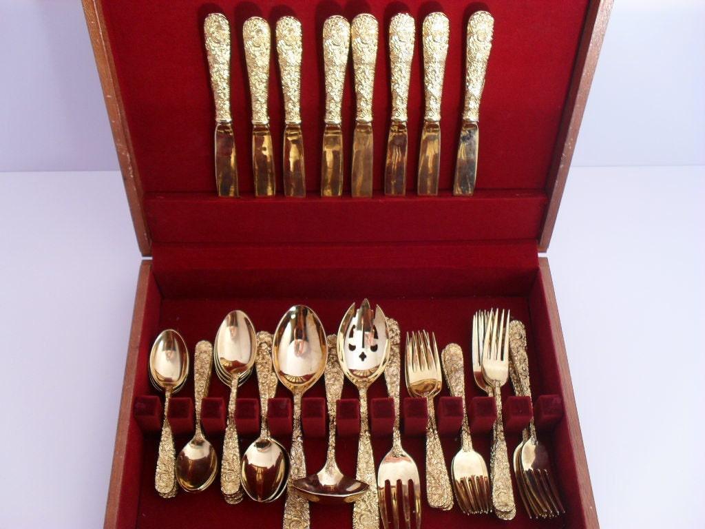 Godinger Gold Silverware Electroplated Set Golden Olde Bouquet