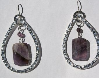 Faceted Amethyst Teardrop Earrings