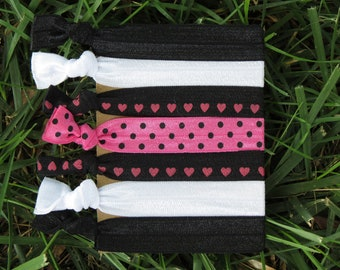 7 Pack Hot Pink Black Heart Polka Dot Print Knot Hair Ties Stretch Fold Over Elastic FOE Pony Holder Bracelet  127