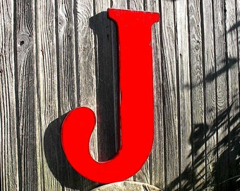 "Wooden Letters Distressed Red J 24"" Large Sign Wall Decor Nursery Kids Wall Art Home Decor"
