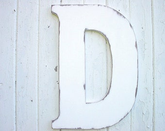 Wooden Letters D 24 inch Shabby chic Wedding Guestbook Alternative Distressed Rustic Bridal shower Wedding gifts