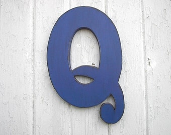 Wooden Letters Q 12 inch Distressed Too Blue Shabby chic Wall decor Rustic Cabin Vintage style look Home decor Kids Nursery sign