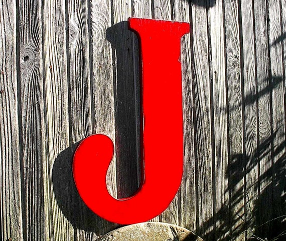 Shabby chic rustic wooden red wall letter j 24 by for Large letter j for wall