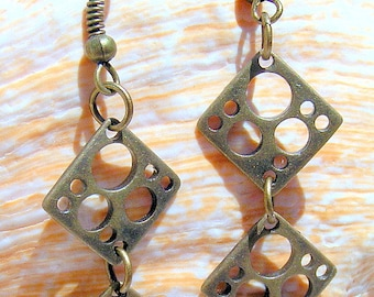 Antique Brass Earrings with Unusual Holes to delight you