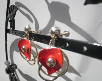 Vintage Screwback Lipstick Red Heart Earrings