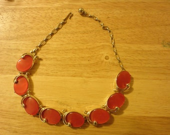 Vintage Red Moonglow or Lucite Necklace