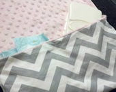 Changing Pad and Diaper / Wipe Holder Combo - Gray Chevron and Pink Minky Fleece - Folds up like a clutch