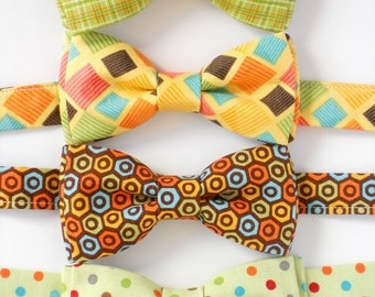 Boys first birthday bow tie in green and yellow perfect for cake smash or baby shower gift boy