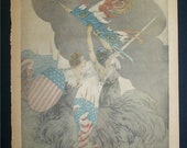 "1918 World War I Print from ""The American Weekly"" by Louis Icart Chicago Examiner"
