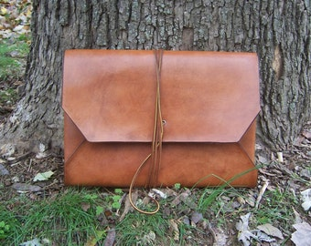 Leather  Portfolio, Case, Envelope, ipad sleeve . .  One Piece Full Grain Leather Handmade in USA.