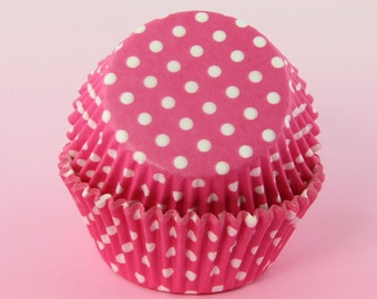 Hot Pink and White Polka Dot Cupcake Liners 2'' Standard Size , Baking Cups