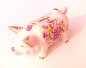 Enesco Piggy Bank - Pretty Floral Hand Painted Porcelain