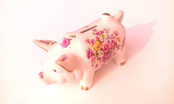 Enesco Piggy Bank - Pretty Floral Hand Painted Porcelain