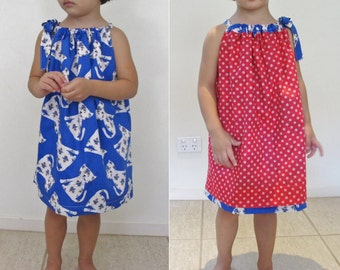 Girls Reversible Dress PDF Sewing pattern/tutorial- Beginners-Childrens Clothing made using a Sewing Machine Only