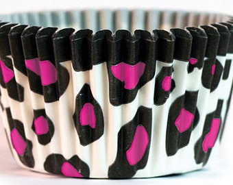 Hot Pink Leopard Cupcake Baking Cups Wrappers 25 or 50 pieces great for glamour diva rock star princess party or bachelorette wedding chic