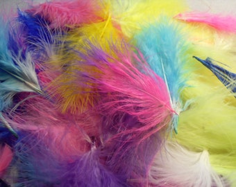 Marabou Feathers, Bag of Multicolor Irregular and Pieces