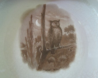 Antique Baby Plate with Owl Hooting in Moonlight, woodland scene