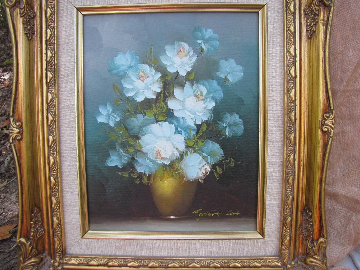 Robert Cox Original Oil Painting Blue Roses Carved Gold