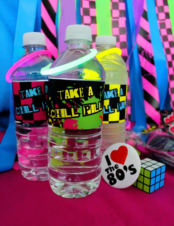 Items Similar To Digital Water Bottle Labels 80s Party