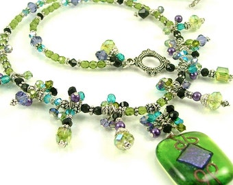 """MAJOR MARKDOWN - Lime & Purple """"Queen's Cascade"""" - Fully Beaded Dichroic Fused Glass Statement Necklace-OOAK"""