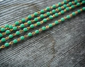 Turquoise Faceted Bead Chain with Gold Links, 4mm, 1 foot