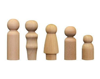 Wood People - Wood Peg Family - Wood Game Pieces