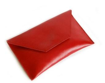 Red leather  envelope clutch bag