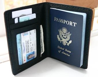 Passport Wallet. Brown leather passport wallet for him or her