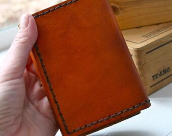 Tri-Fold Mens Wallet. Handmade mens leather wallet.