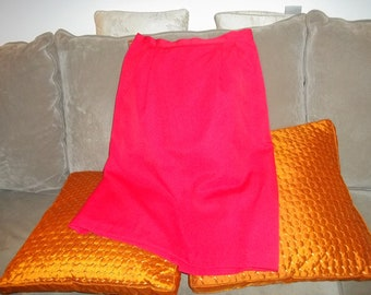 80s Red Argenti knee length pencil skirt