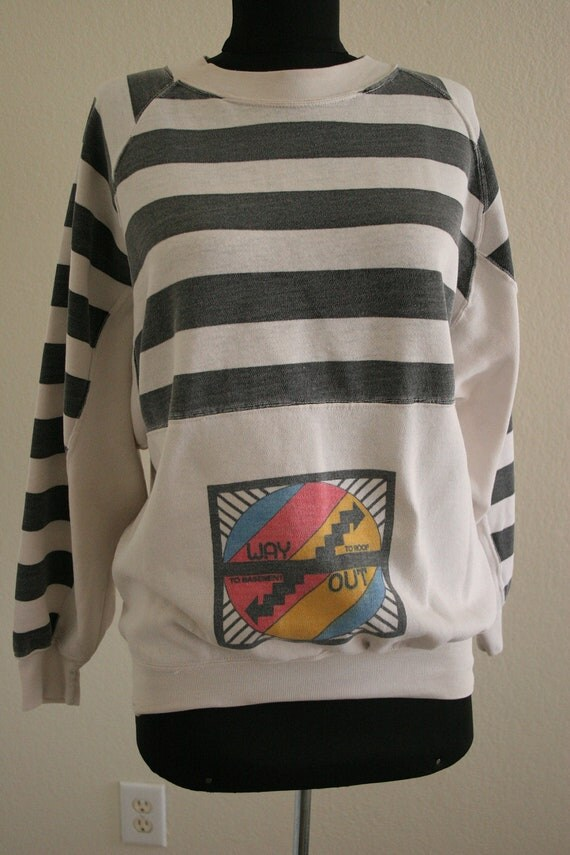 Vintage 80s WAY OUT graphic print and striped sweater / jumper super rare and unusual