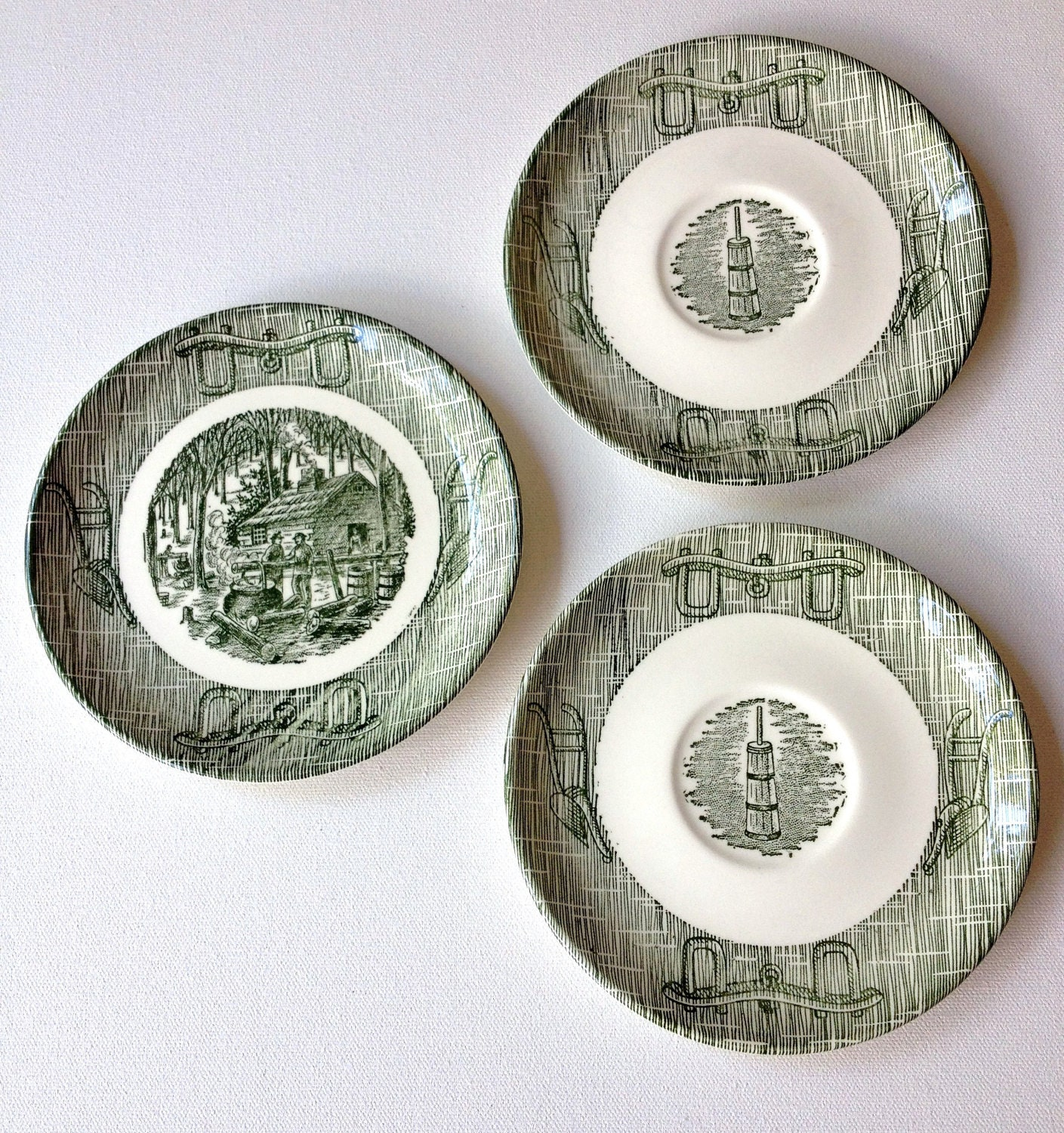 Vintage Dishes Green Dinnerware Scio China USA Currier And