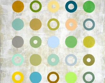 Square geometric painting with dots and rings.