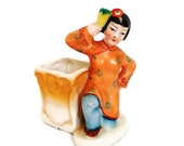 Occupied Japan Chinese Girl Figurine Brush Pot Vase Aqua Orange Darling - Comforte