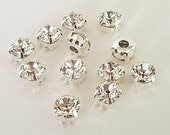 7mm Swarovski Chaton Montee Clear Sliders, Set of 12,  2 Holes on Each Side, Sew On Rhinestones, SS34, Silver Plated Settings Chatons