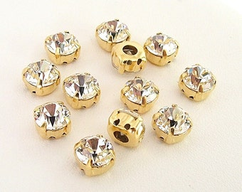 7mm Clear Swarovski Chaton Montee Sliders, Set of 12,  2 Holes on Each Side, Sew On Rhinestones, SS34, Gold Plated Settings