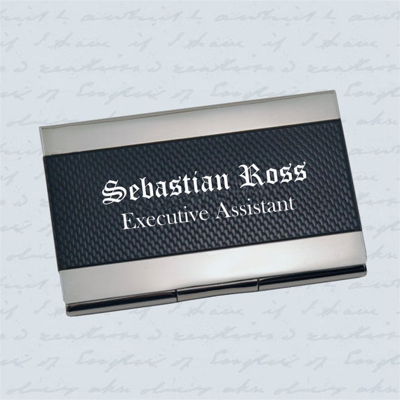 Personalized Silver & Carbon Fiber Business Credit Card Holder